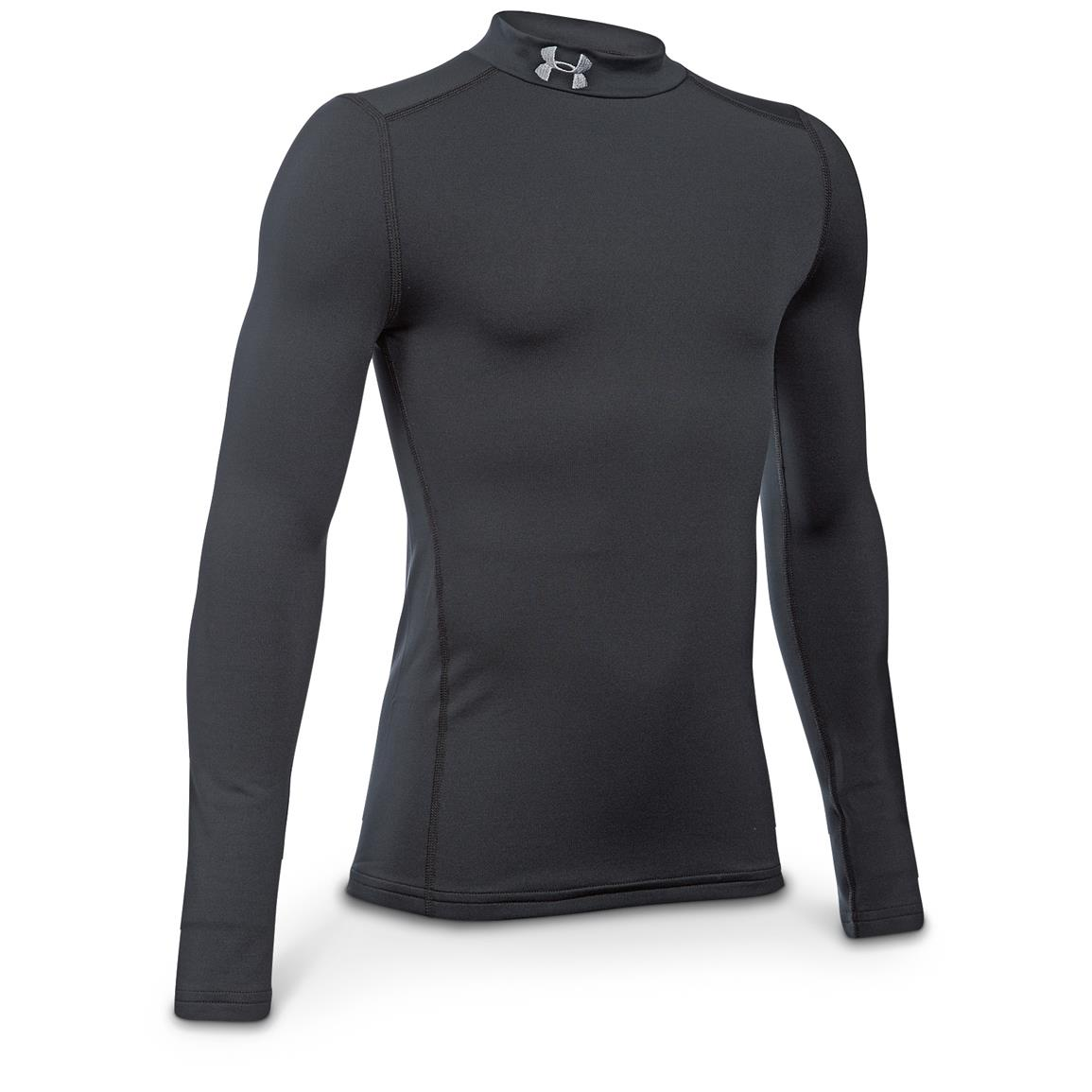 Under Armour Youth Coldgear Mock Long-Sleeve Base Layer Shirt, Black / Steel