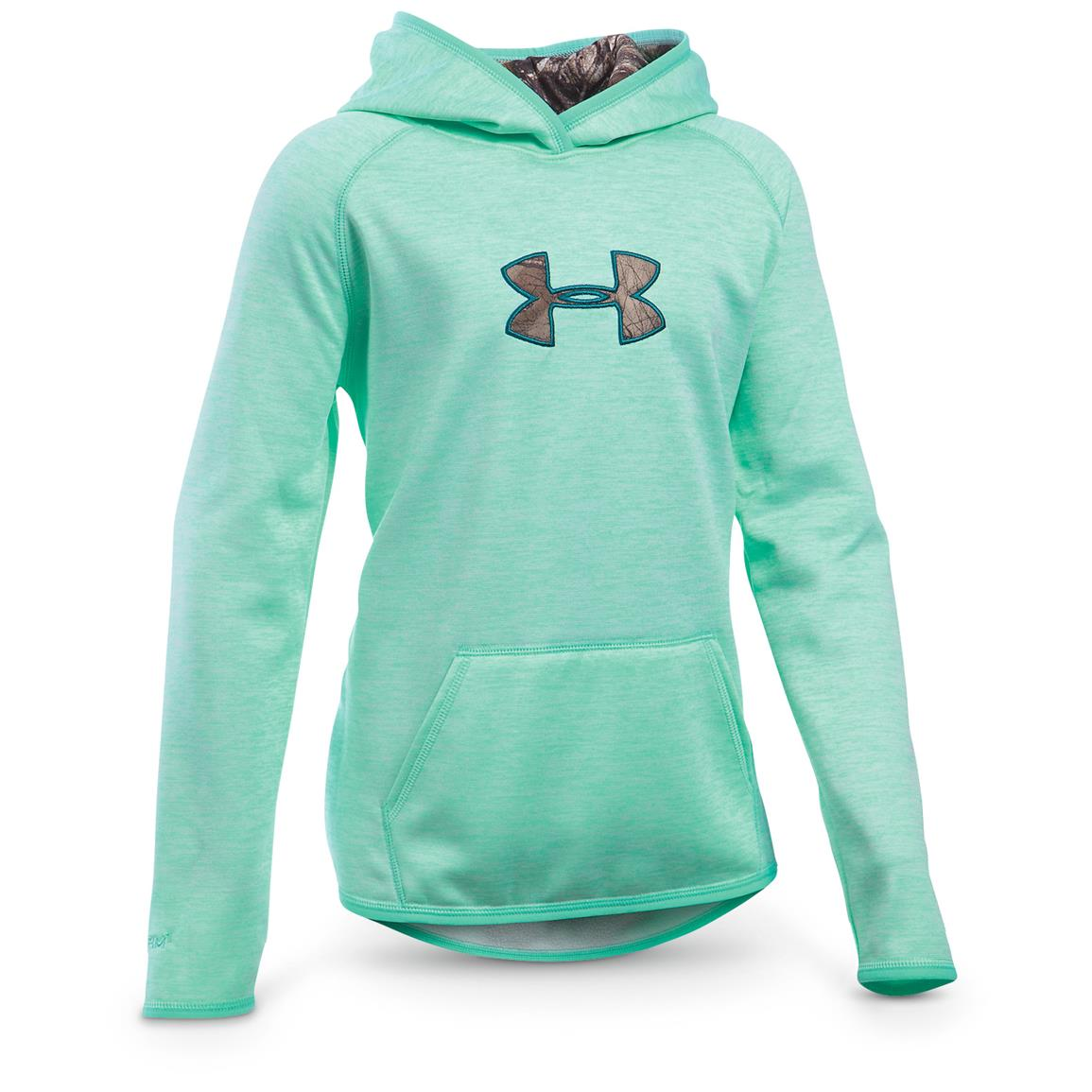 Under Armour Girls' Icon Caliber Hoodie, Crystal / Realtree Xtra