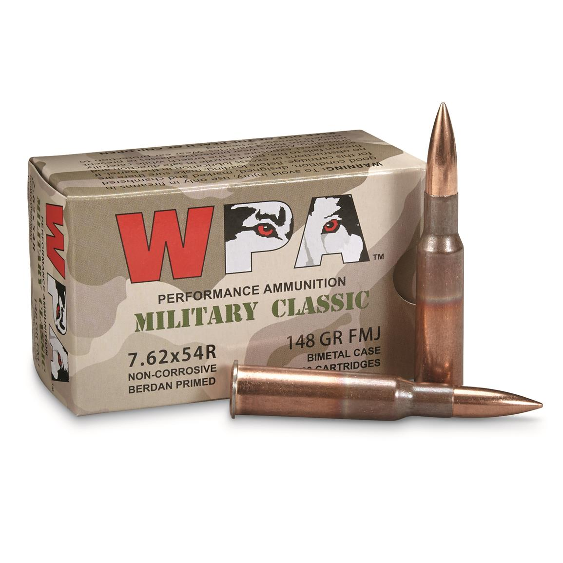 Wolf WPA Military Classic, 7.62x54R, FMJ, 148 Grain, 240 Rounds