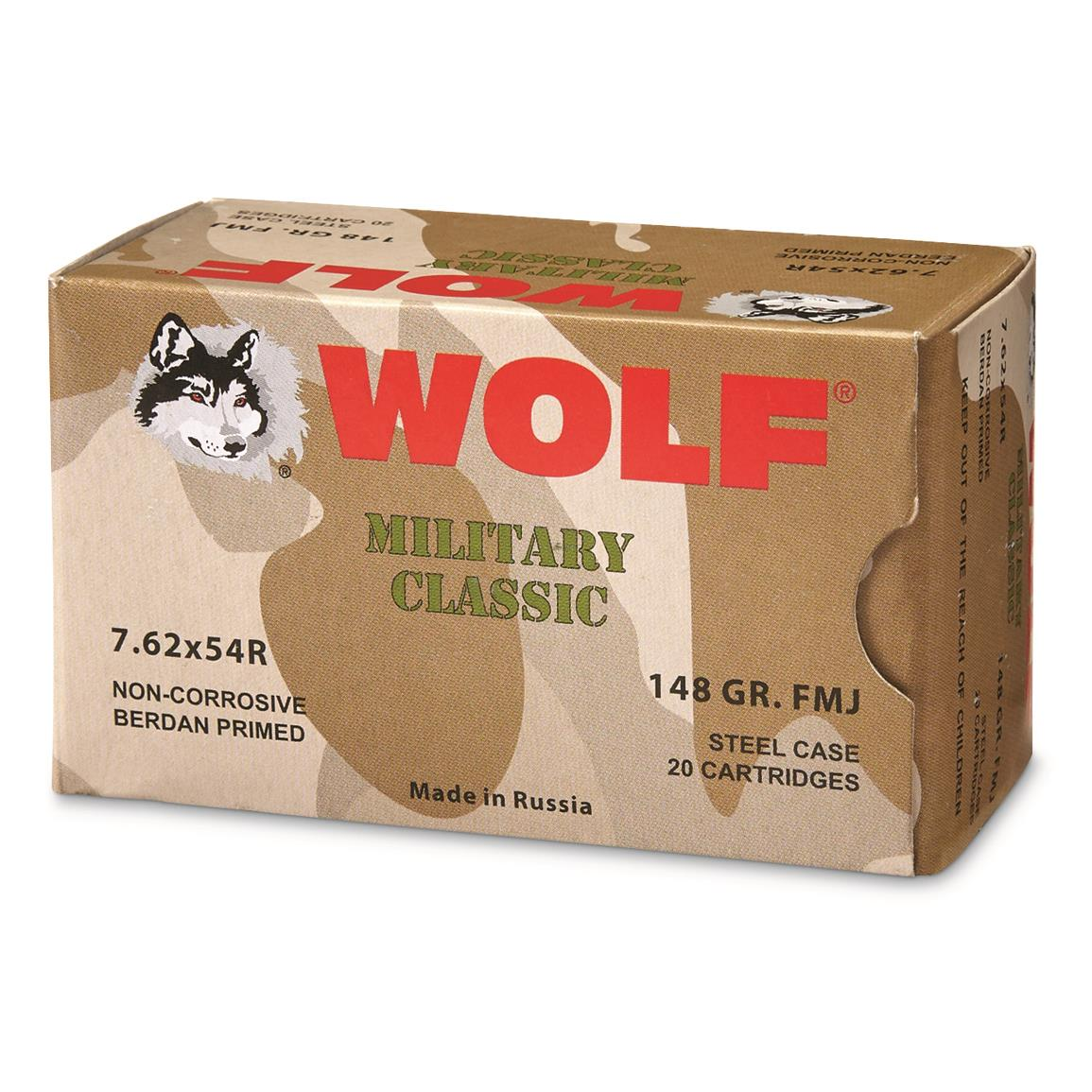 Wolf WPA Military Classic, 7.62x54R, 148 Grain, FMJ, 240 Rounds
