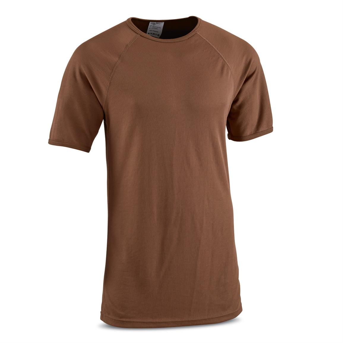 Dutch Military Issue Moisture-Wicking T-Shirts, 2 Pack, New, Brown