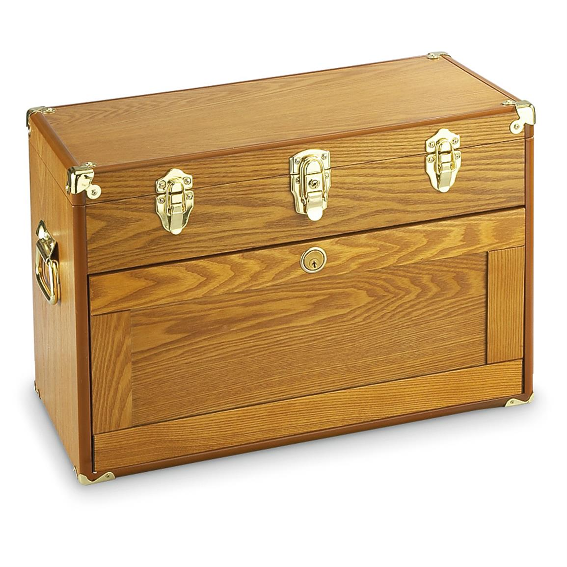 Light Oak • 4 drawers all lock with stowing, slide-under door