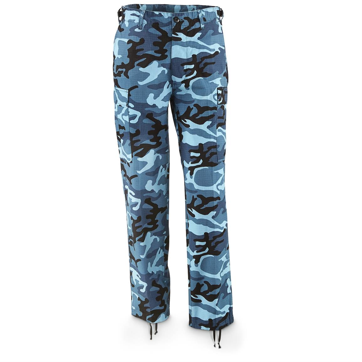 Mil-Tec Military Surplus Men's Skyblue Woodland Camo Ripstop BDU Pants, New