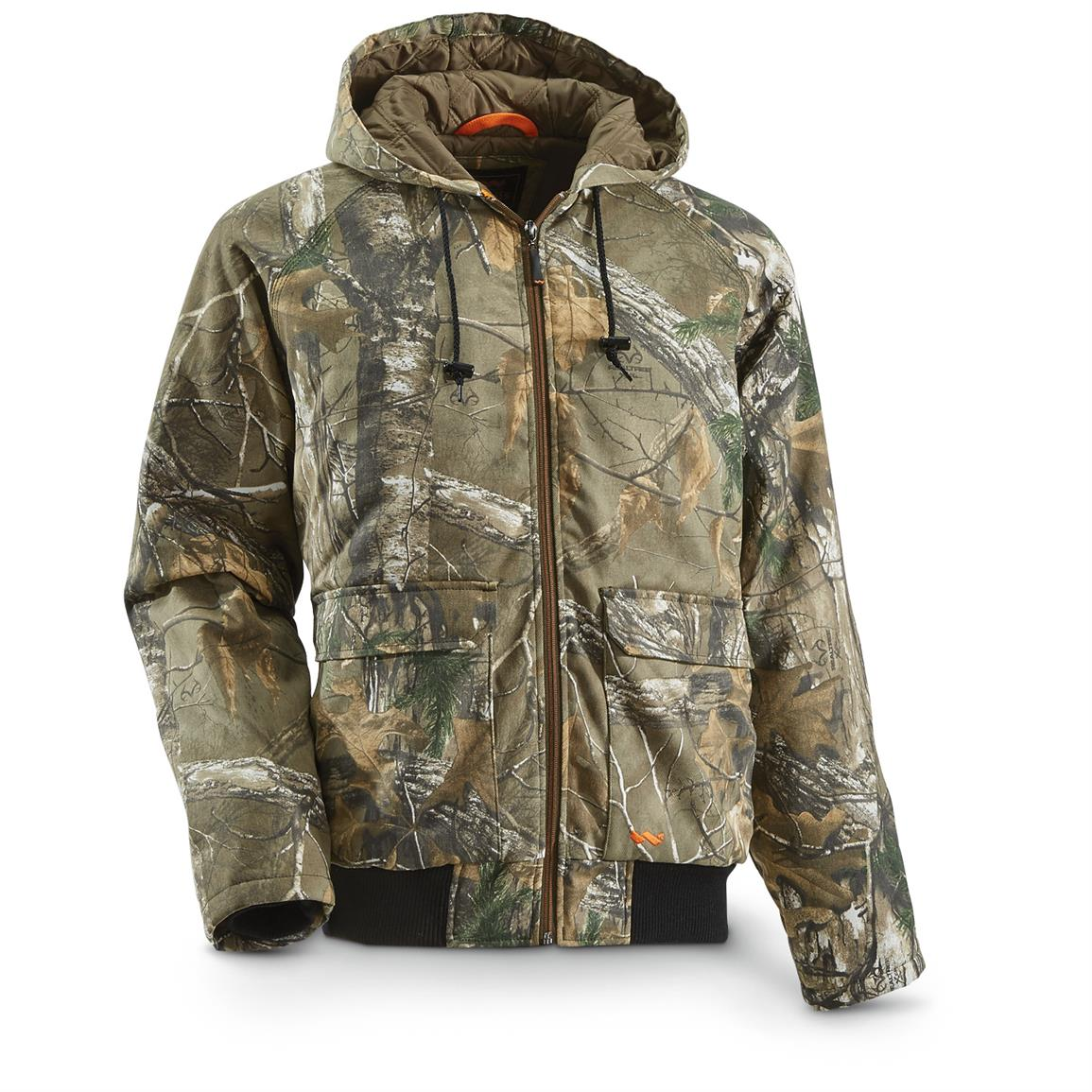 Walls Men's Insulated Camo Bomber Jacket, Realtree Xtra