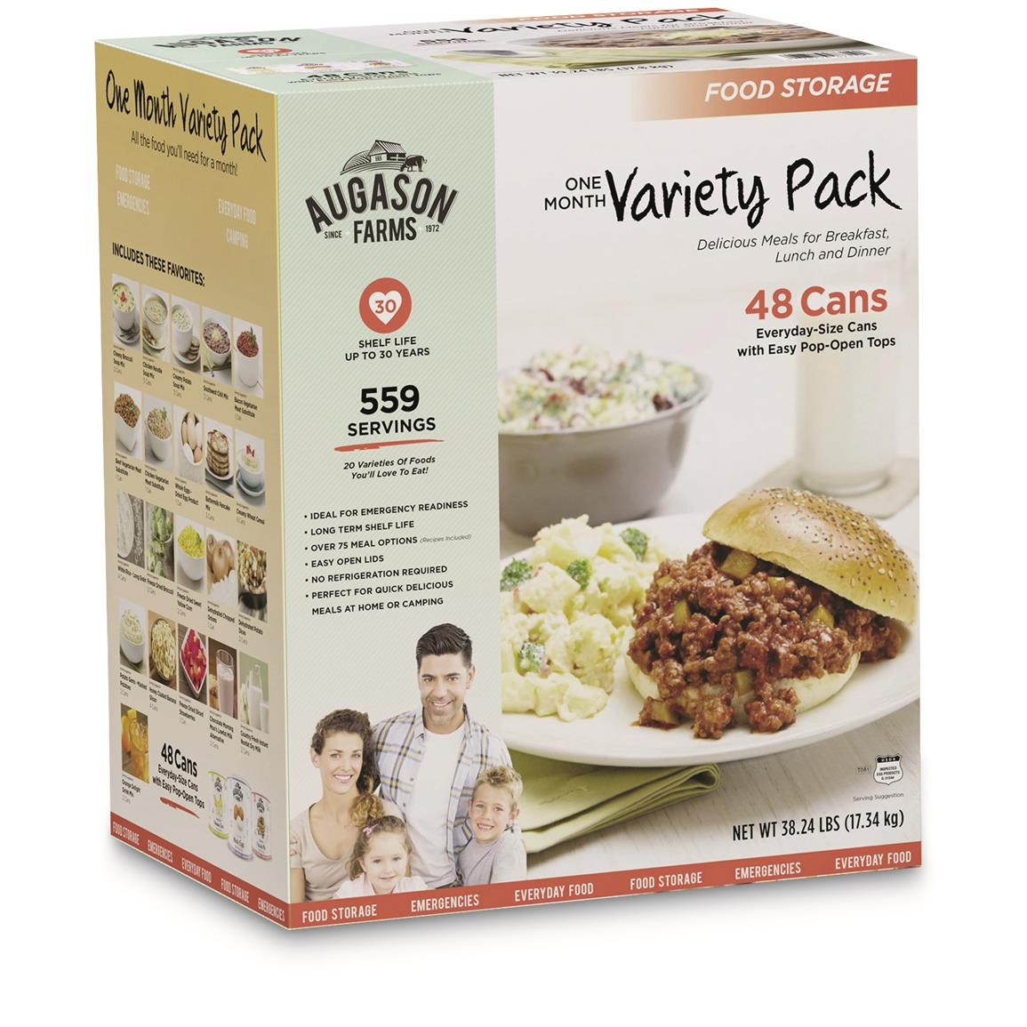 Augason Farms Emergency Variety Food Supply Kit, (1 Person, 30 Day)