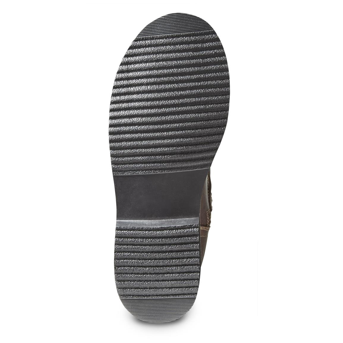 Low-tread rubber outsole won't accumulate mud or gunk