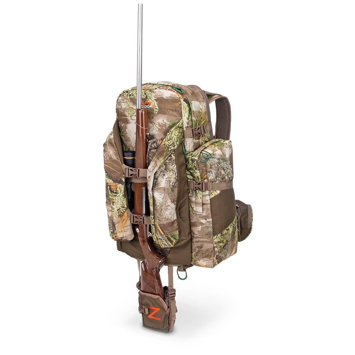 Expandable pocket allows you to securely hold your bow or gun