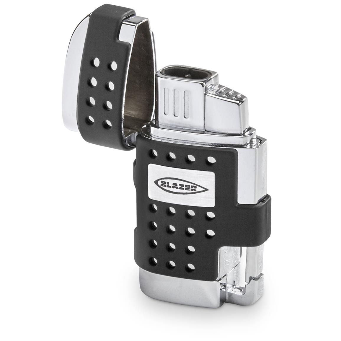 Blazer EVO Dual Flame Torch Lighter with Cigar Punch, Black