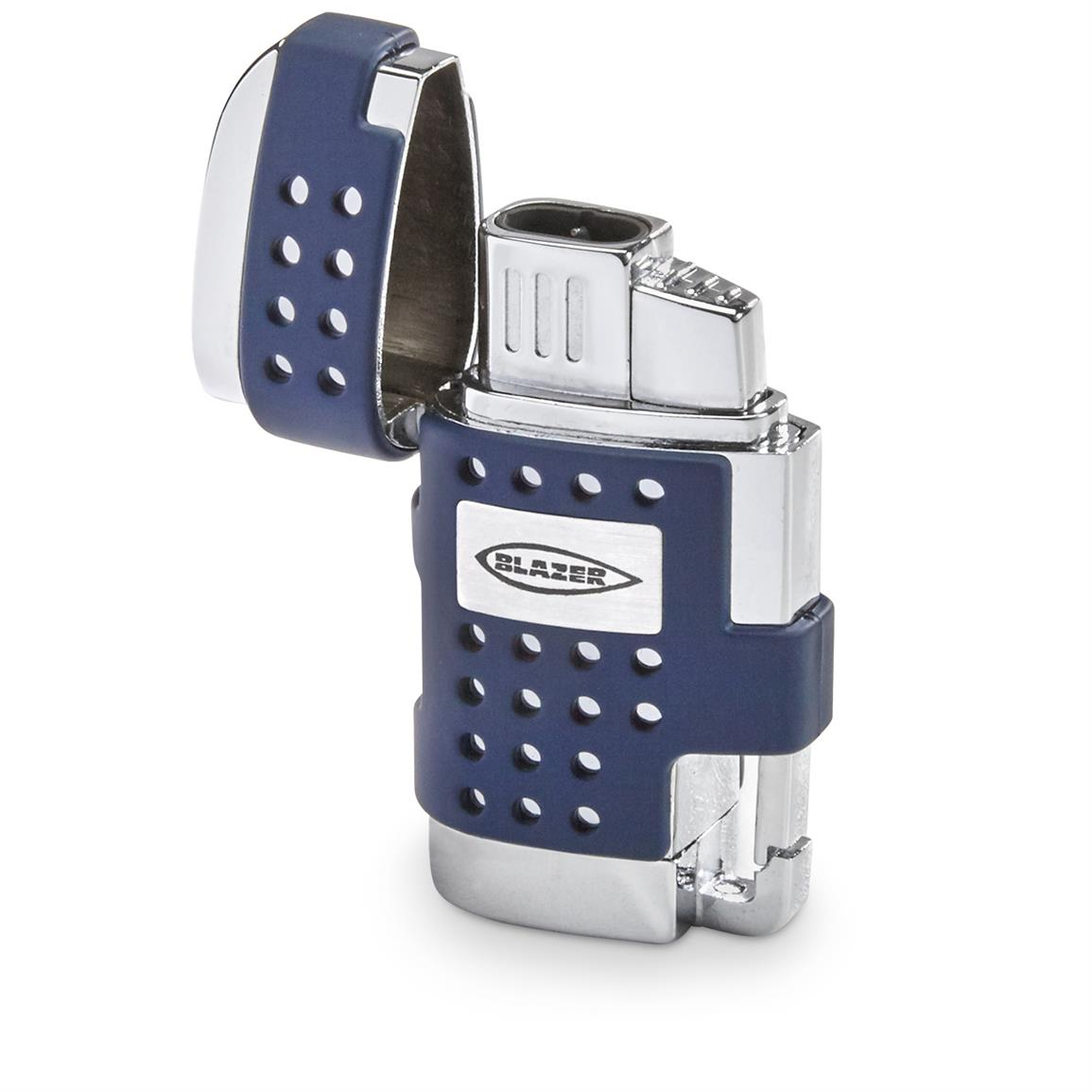 Blazer EVO Dual Flame Torch Lighter with Cigar Punch, Blue