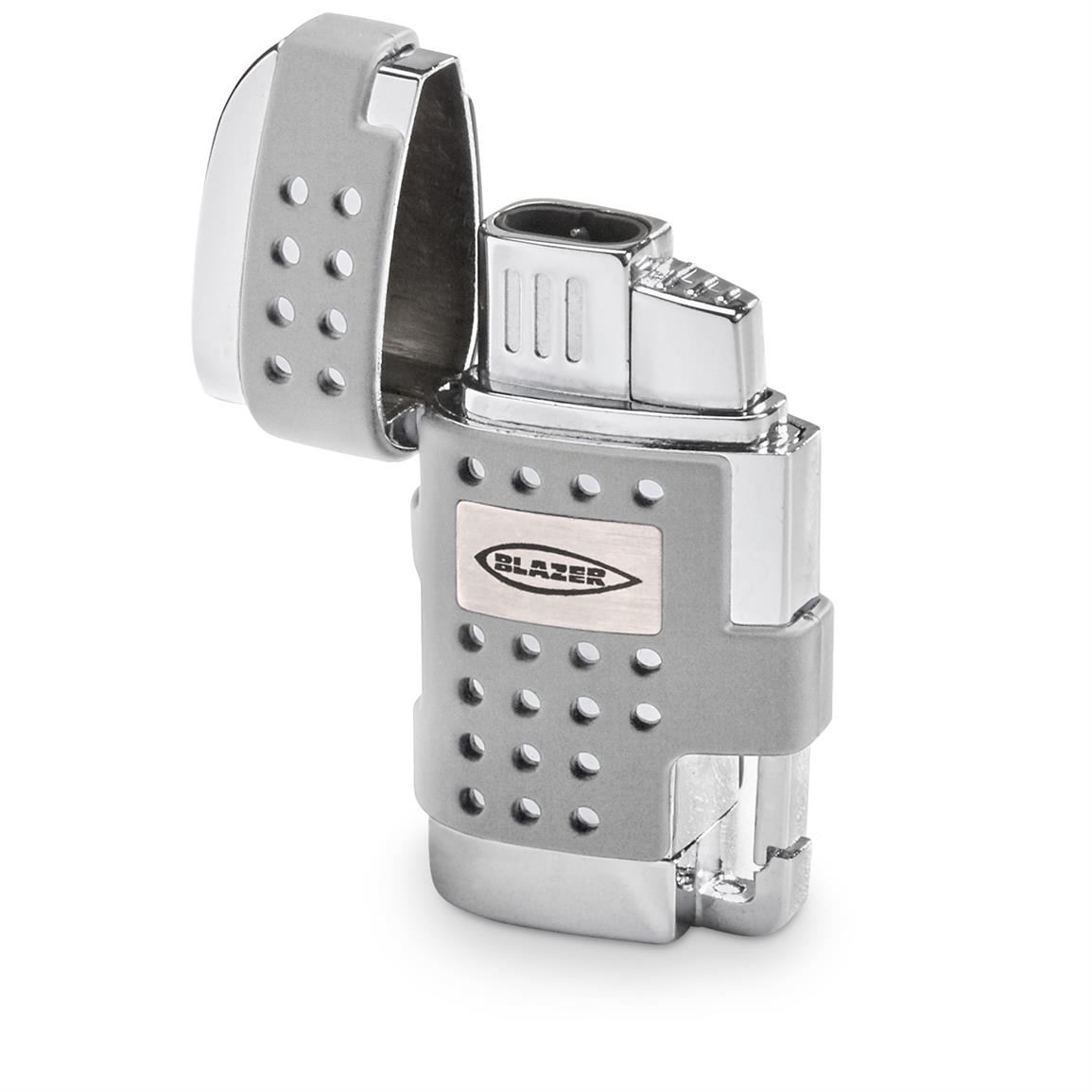 Blazer EVO Dual Flame Torch Lighter with Cigar Punch. Silver