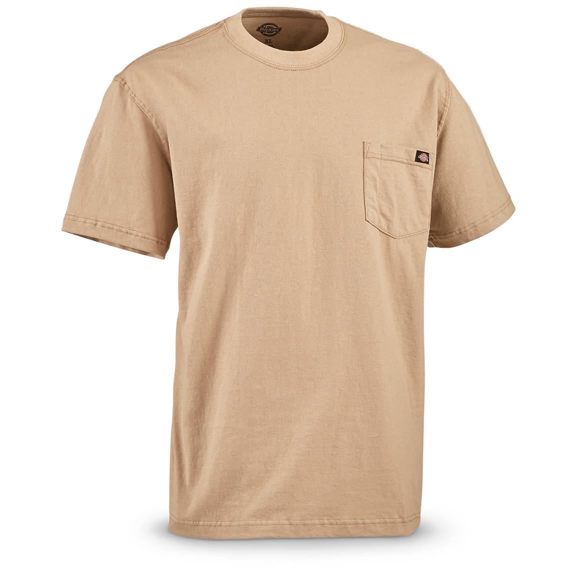 Dickies Men's Short Sleeve Pocket Shirt, 2 Pack, Sand