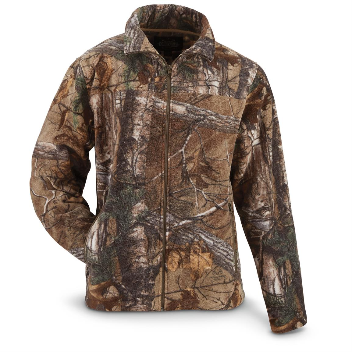 Guide Gear Men's Fleece Full Zip Jacket, Realtree Xtra