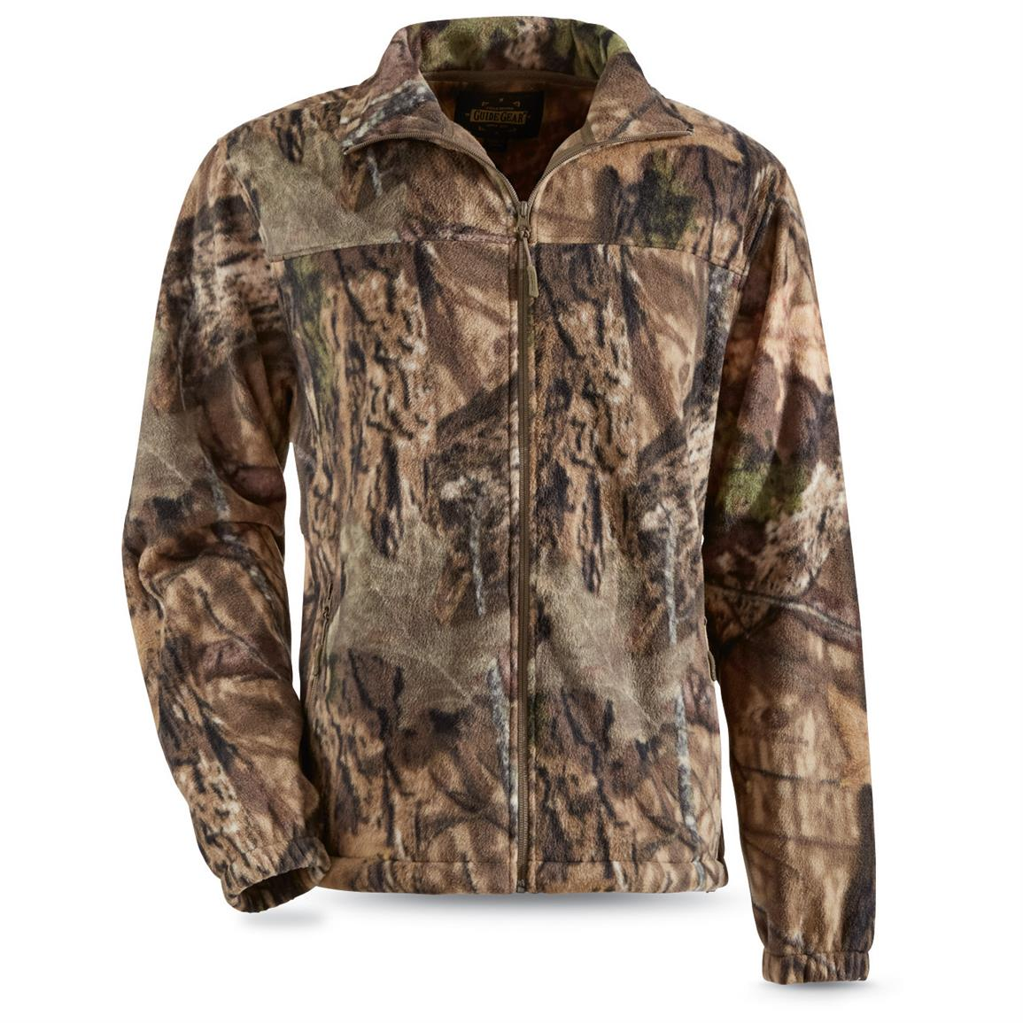 Guide Gear Men's Fleece Full Zip Jacket, Mossy Oak Break-Up Country