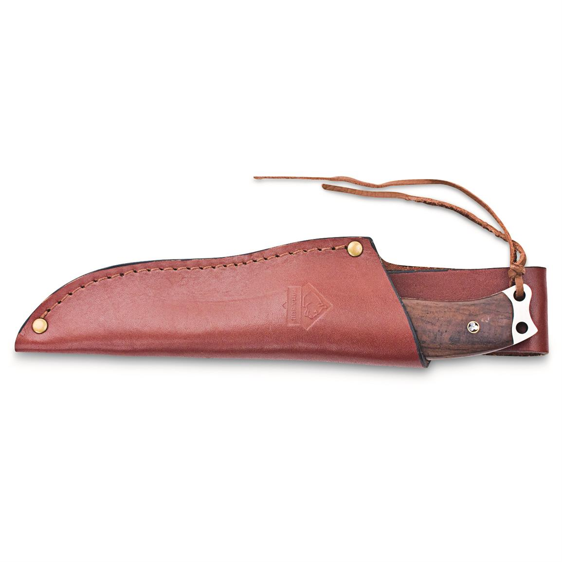 Includes leather sheath for easy transport