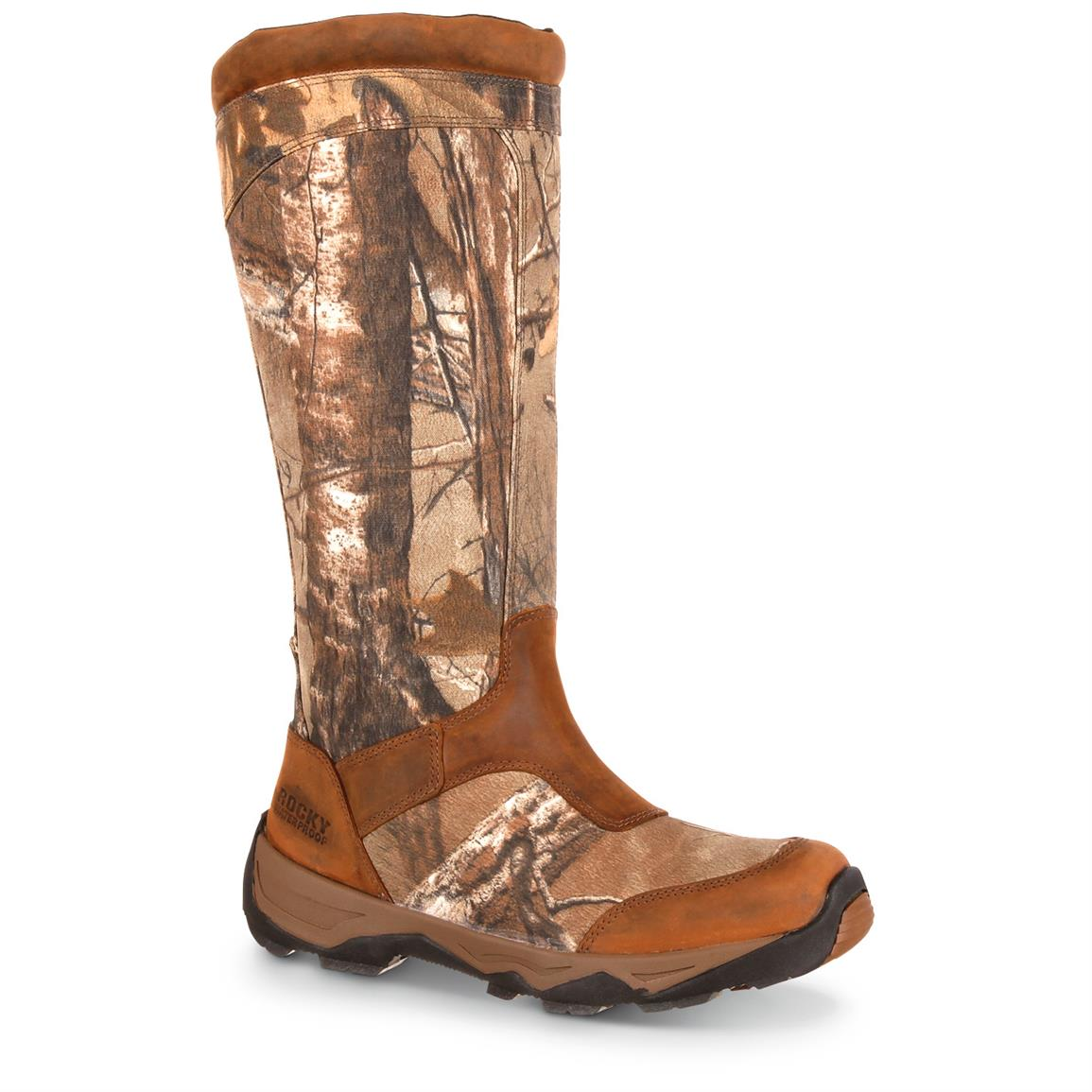 "Rocky Retraction Men's 17"" Waterproof Snake Boots, Side-Zip, Realtree Xtra"