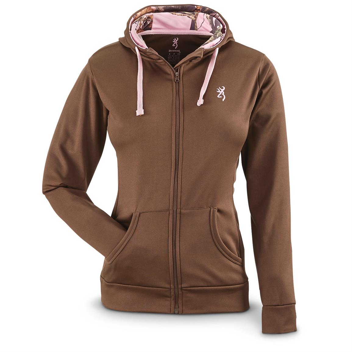Browning Women's Performance Full Zip Hoodie, Chocolate