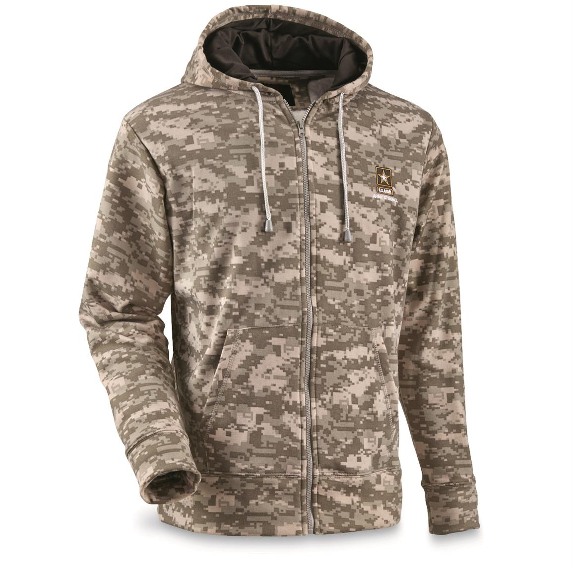U.S. Army Full Zip Fleece Tactical Sweatshirt, ACU