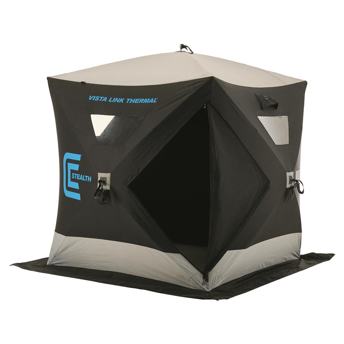 Clam VistaLink Thermal Stealth Hub Ice Fishing Shelter, 2-3 Person
