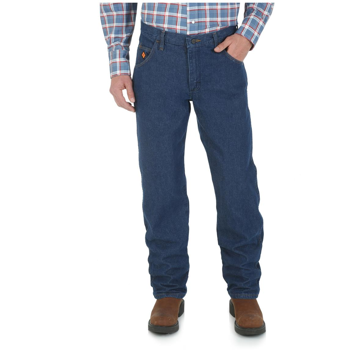 Wrangler Men's Flame Resistant Regular Fit Jeans, Lightwash