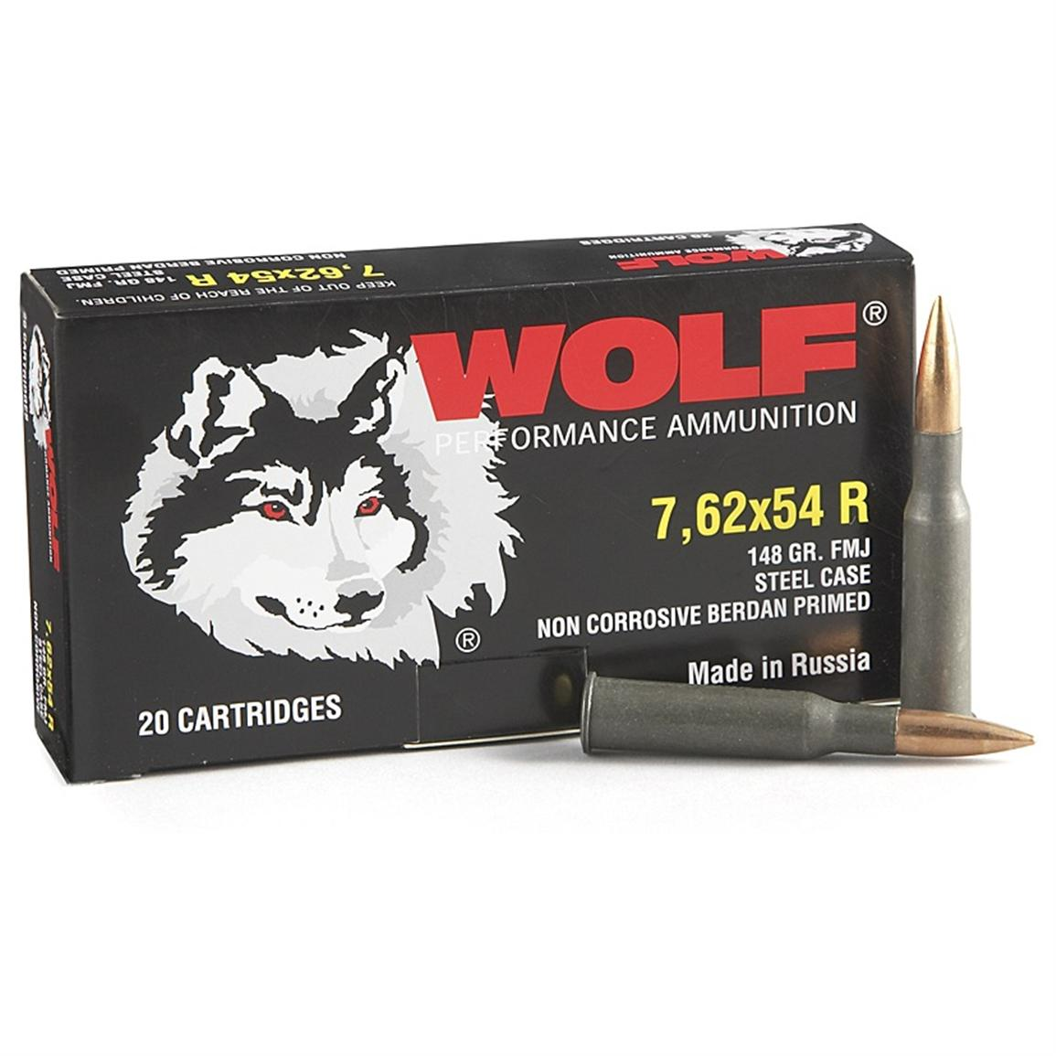 Wolf, 7.62x54R, FMJ, 148 Grain, 240 Rounds