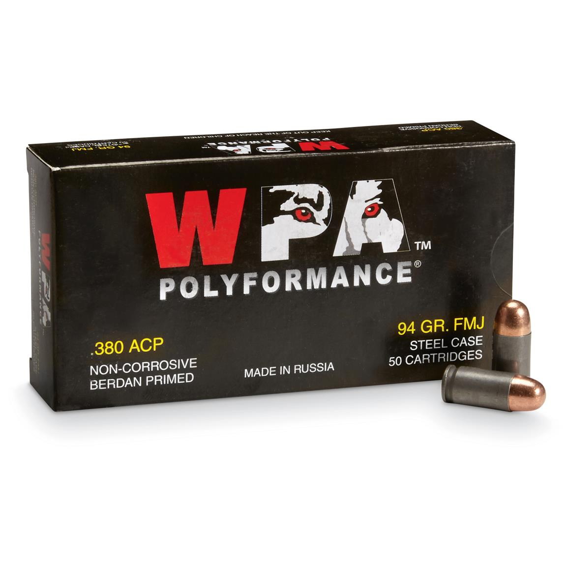 WPA Polyformance, .380 Auto, FMJ, 94 Grain, 500 Rounds