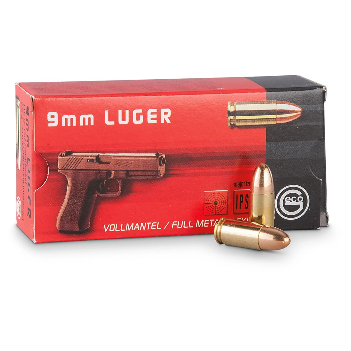 Geco, 9mm Luger, 115 Grain, FMJ, 1,000 Rounds