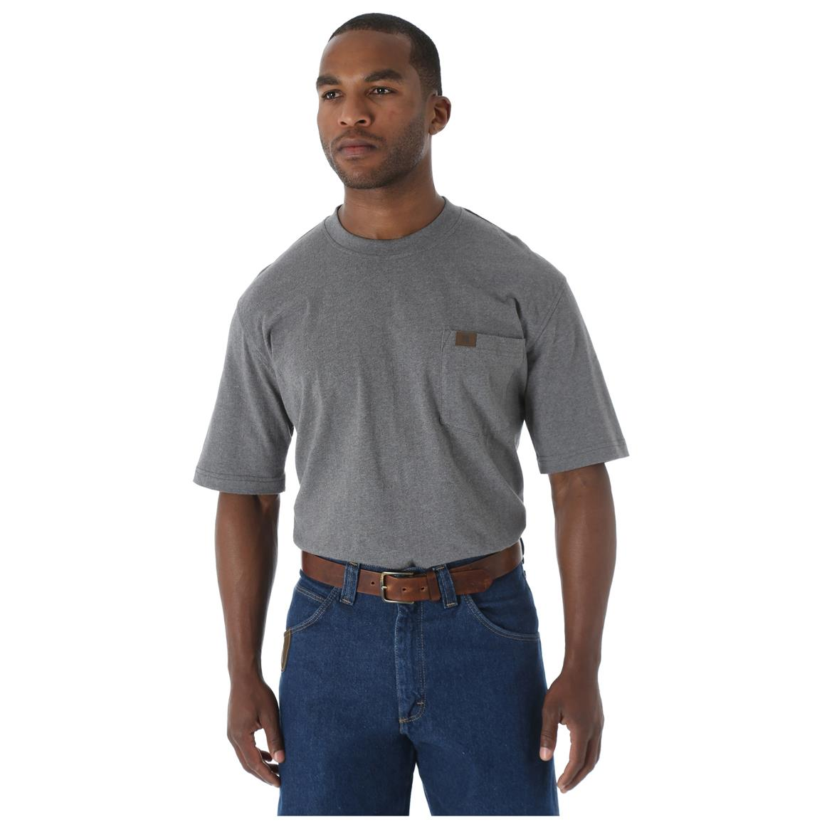 Wrangler RIGGS Workwear Men's Pocket Short Sleeve T-Shirt, Charcoal