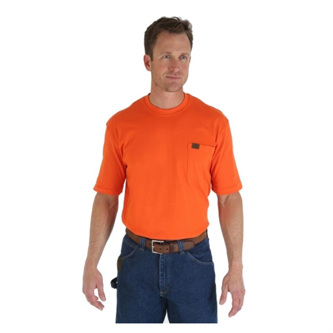 Wrangler RIGGS Workwear Men's Pocket Short Sleeve T-Shirt, Safety Orange