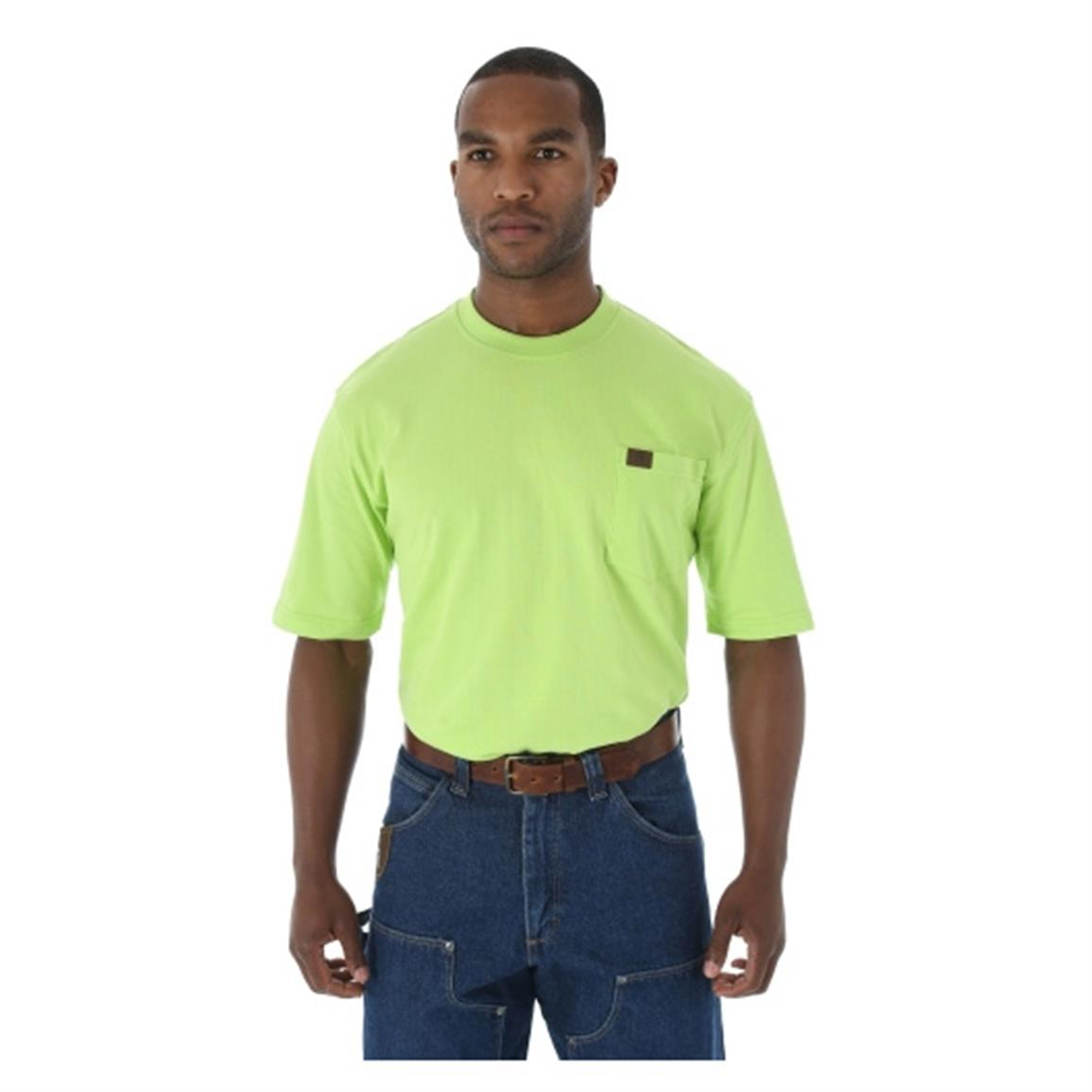 Wrangler RIGGS Workwear Men's Pocket Short Sleeve T-Shirt, Safety Green