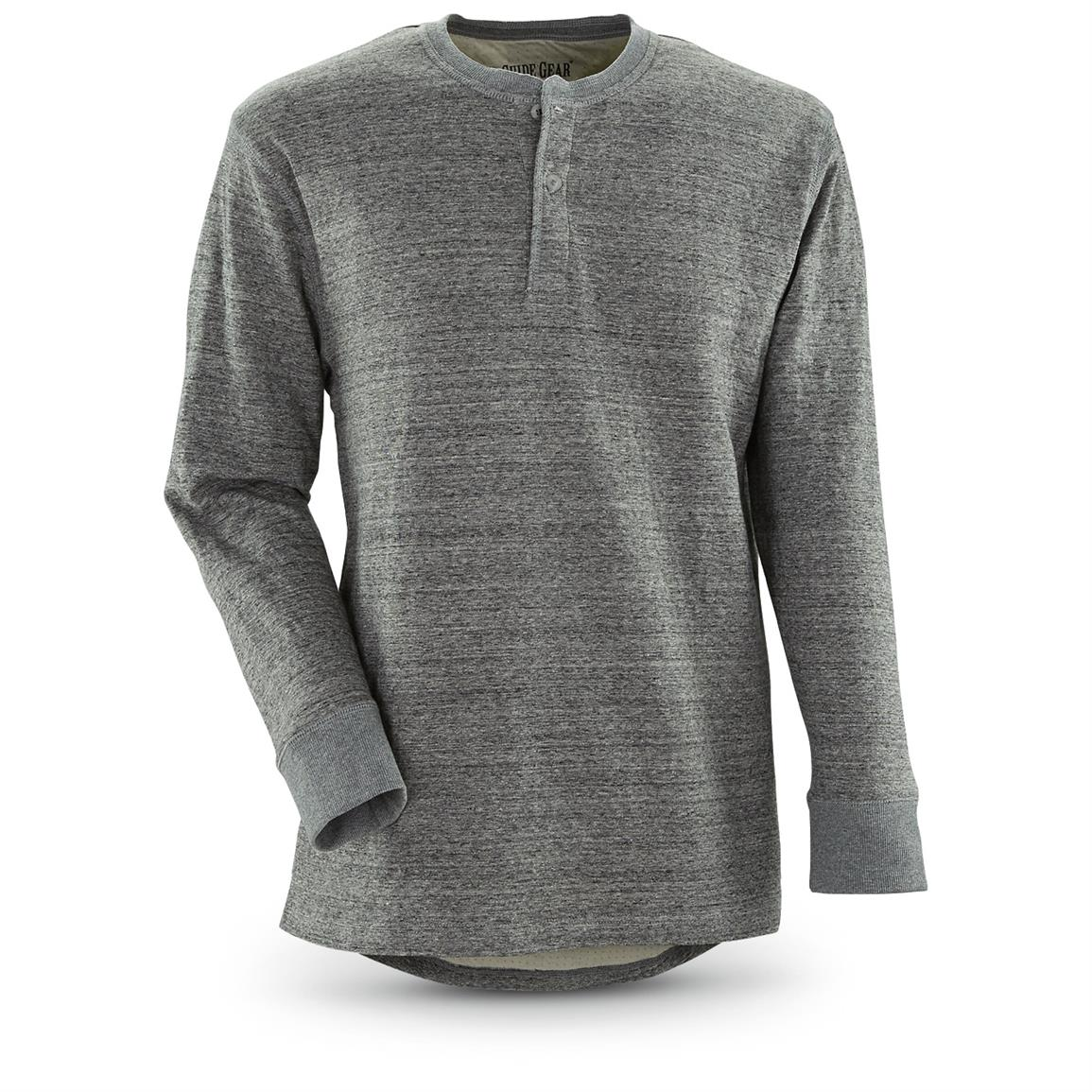 Guide Gear Men's Double-lined Long Sleeve Henley, Gray