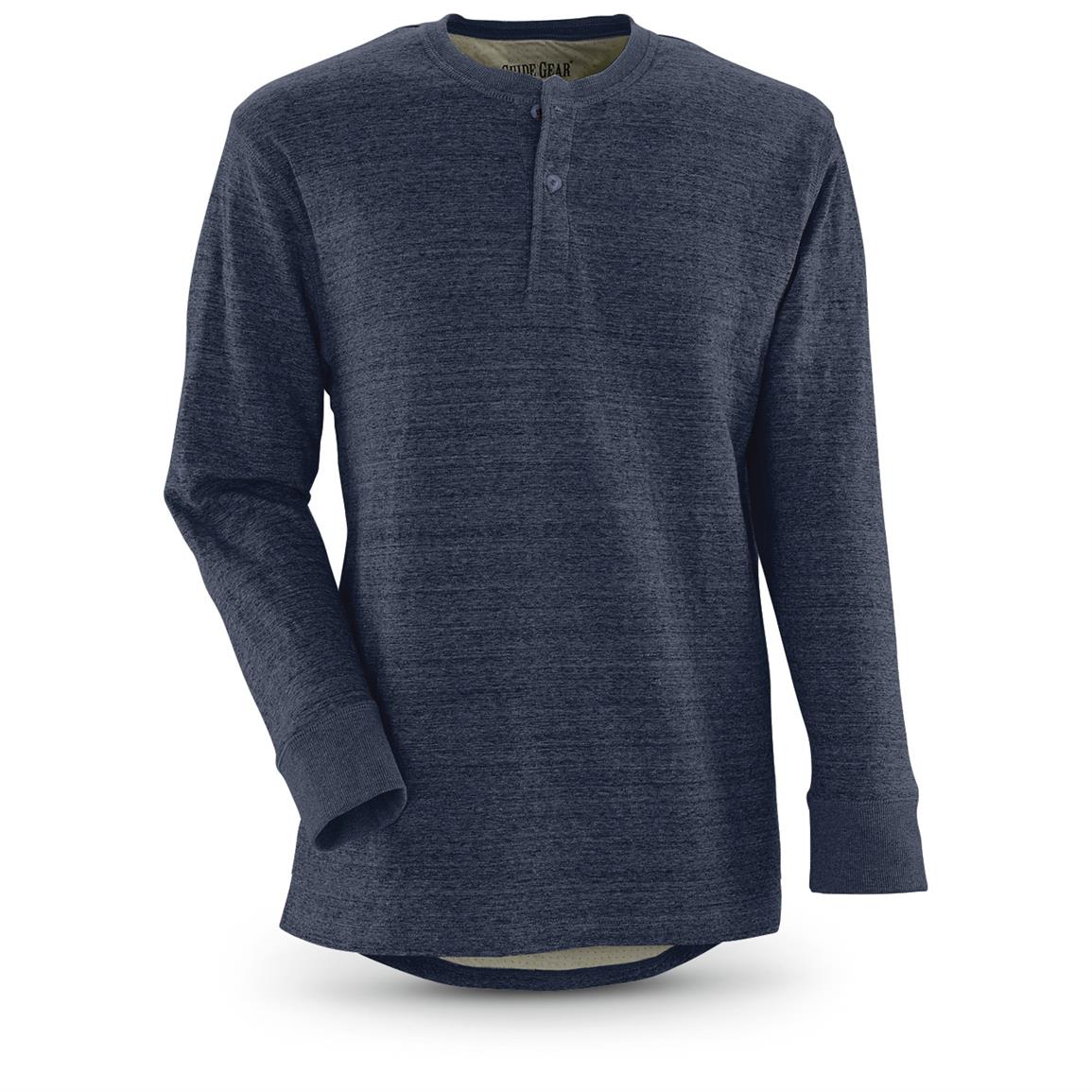 Guide Gear Men's Double-lined Long Sleeve Henley, Navy