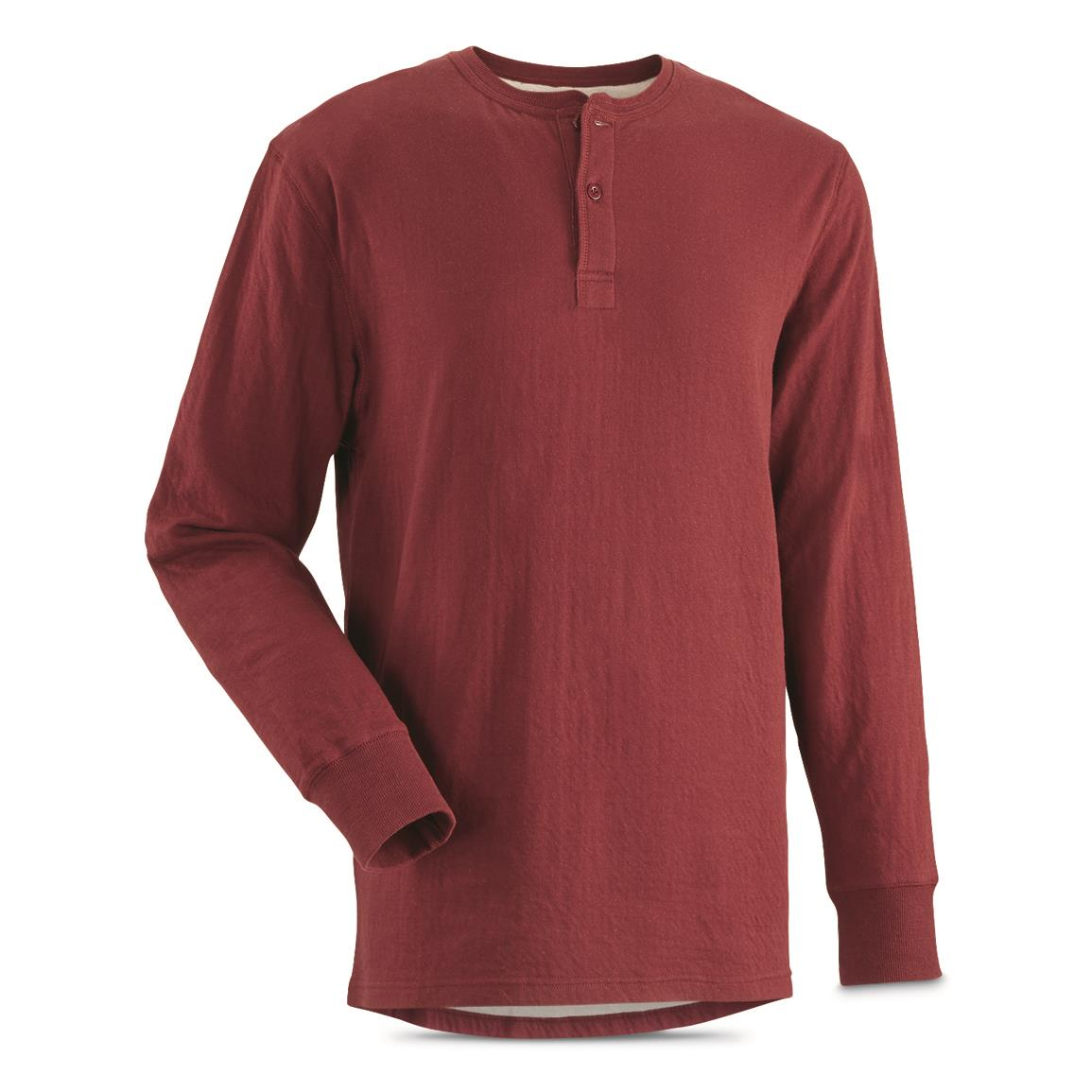 Guide Gear Men's Double-lined Long Sleeve Henley, Spiced Red
