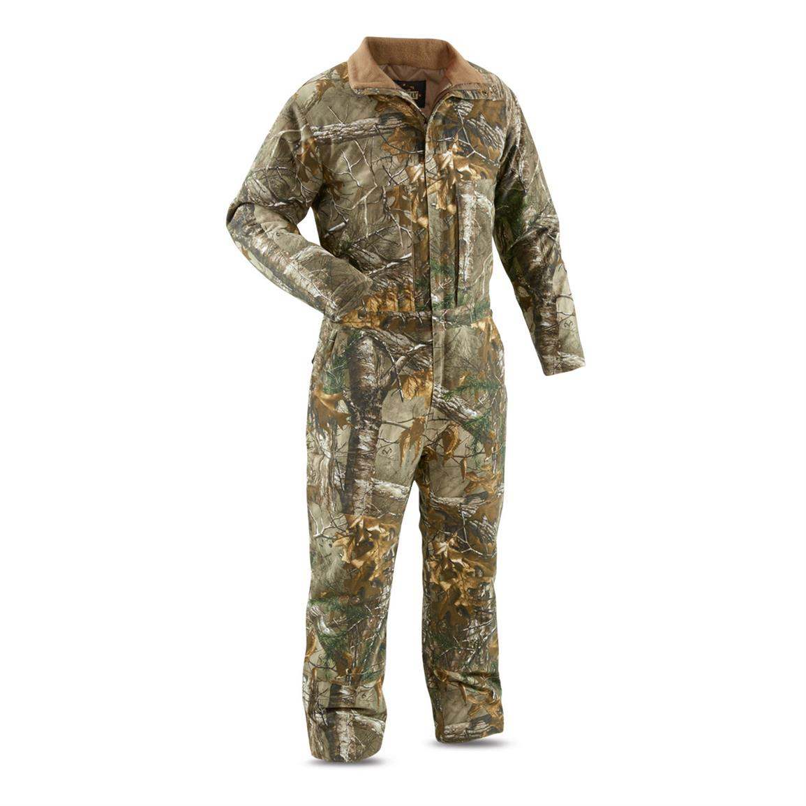 Guide Gear Men's Insulated Silent Adrenaline Hunting Coveralls, Realtree Xtra