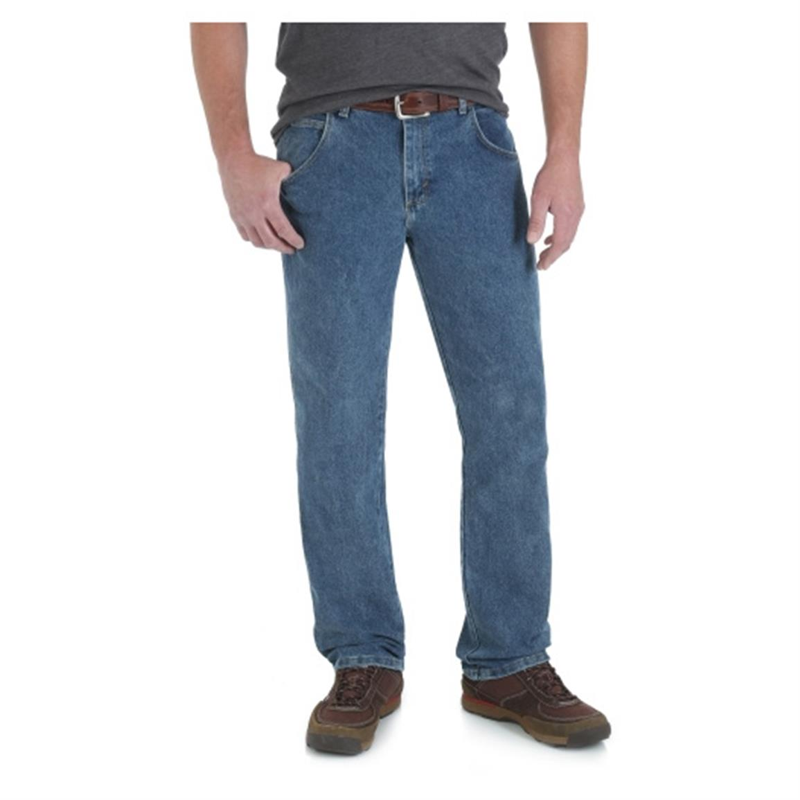 Wrangler Rugged Wear Men's Regular Fit Jean, Vintage Stone