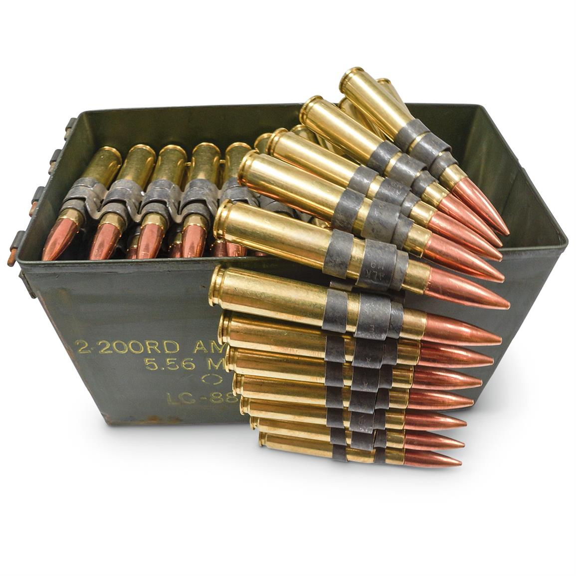 Lake City, .50 BMG, 647 Grain, FMJ Ammo with Can, Remanufactured, 100 Linked Rounds