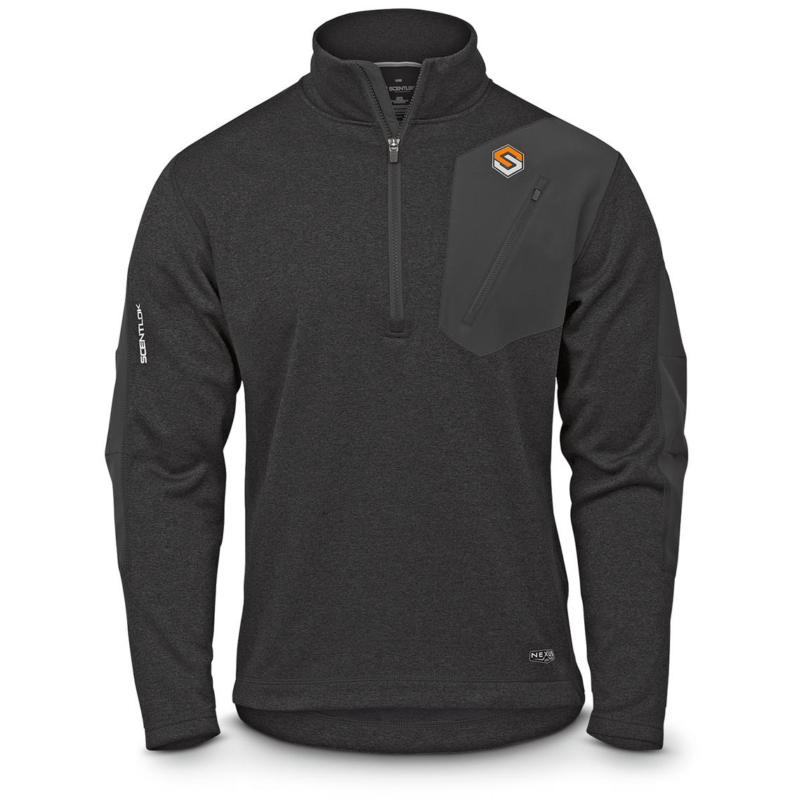 ScentLok Men's Nexus Summit Weight Quarter-Zip Pullover, Heather Black