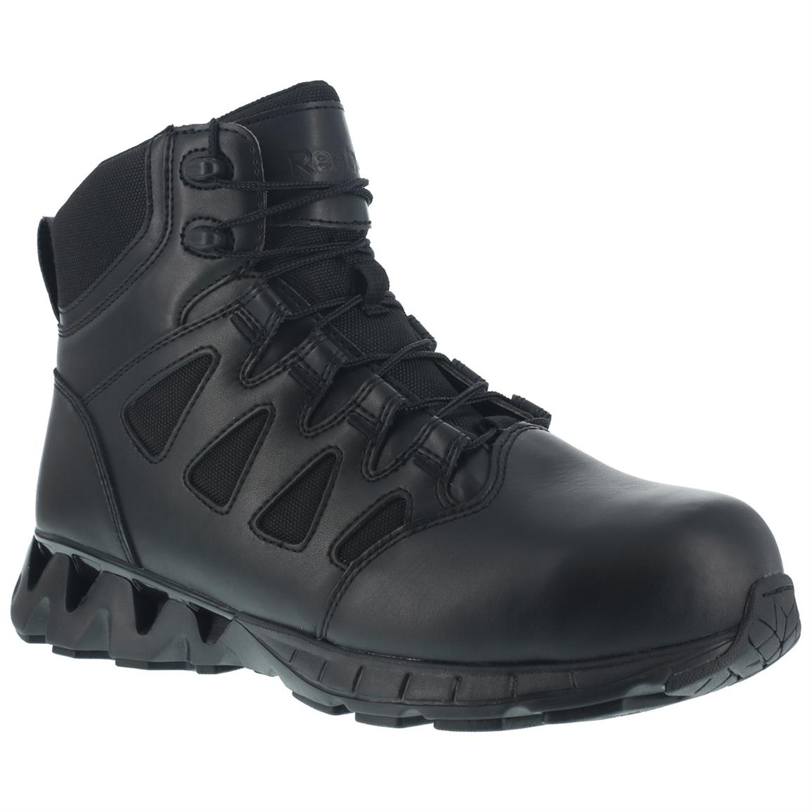 "Reebok Duty 6"" ZigKick SZ Women's Composite Toe Tactical Boots, Side Zip, Black"