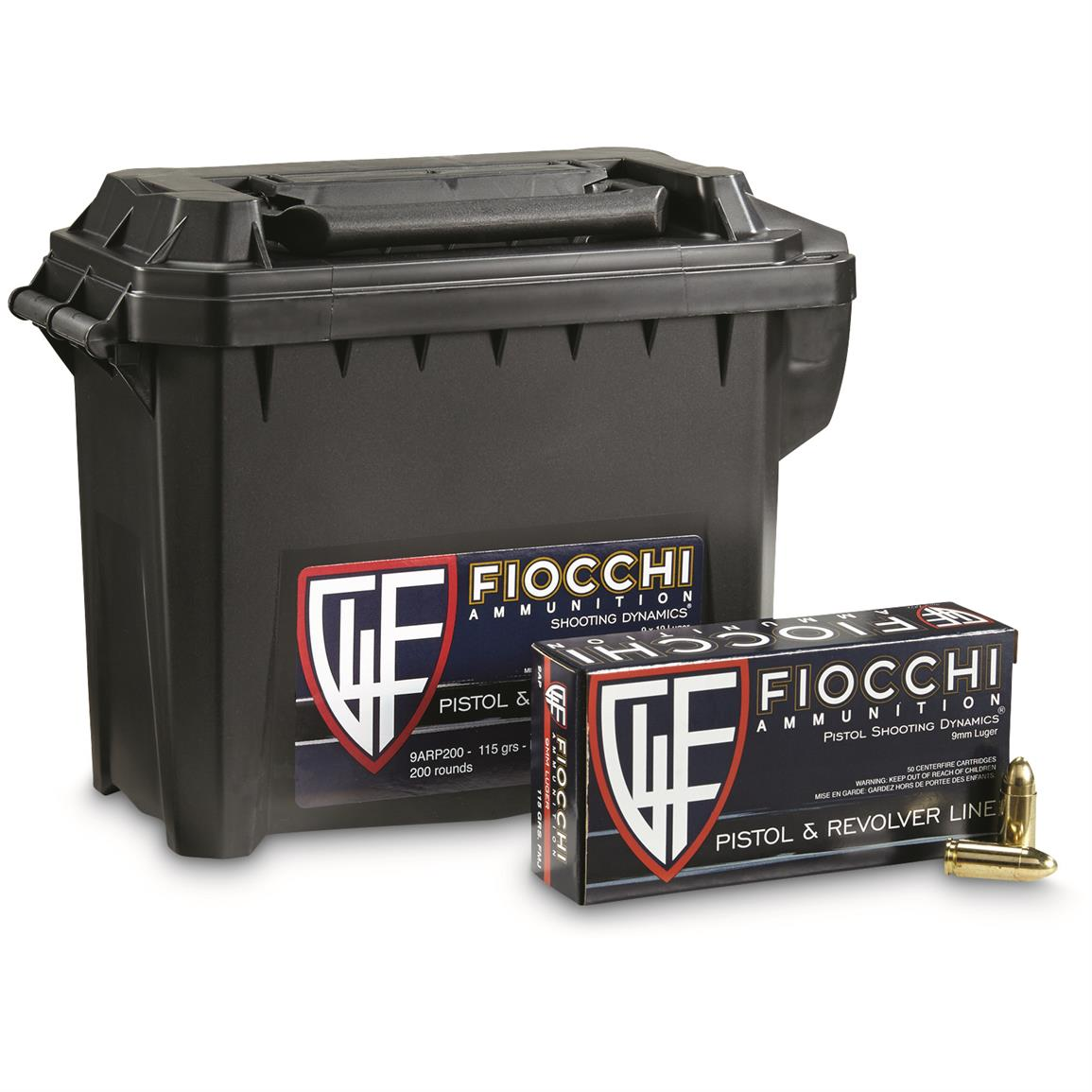 Fiocchi Shooting Dynamics, 9mm Luger, FMJ, 115 Grain, 200 Rounds with Can