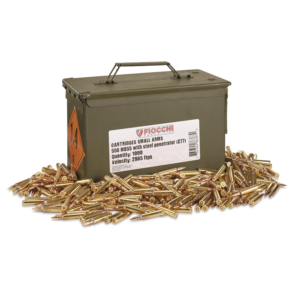 Fiocchi, .223 (5.56x45mm), 62 Grain, FMJ Ammo with Can, 1,000 Rounds