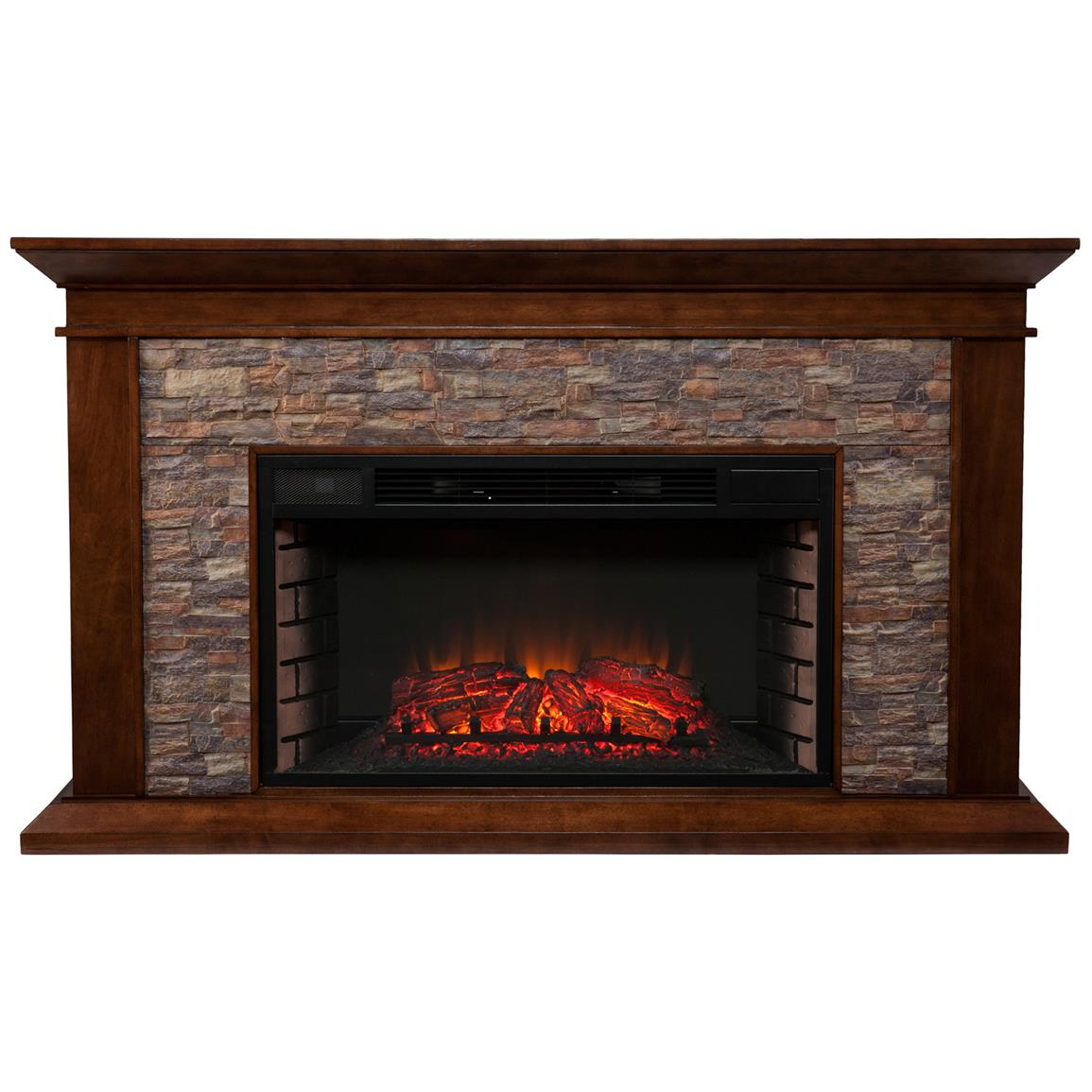 Southern Enterprises Canyon Heights Electric Fireplace, Whiskey Maple