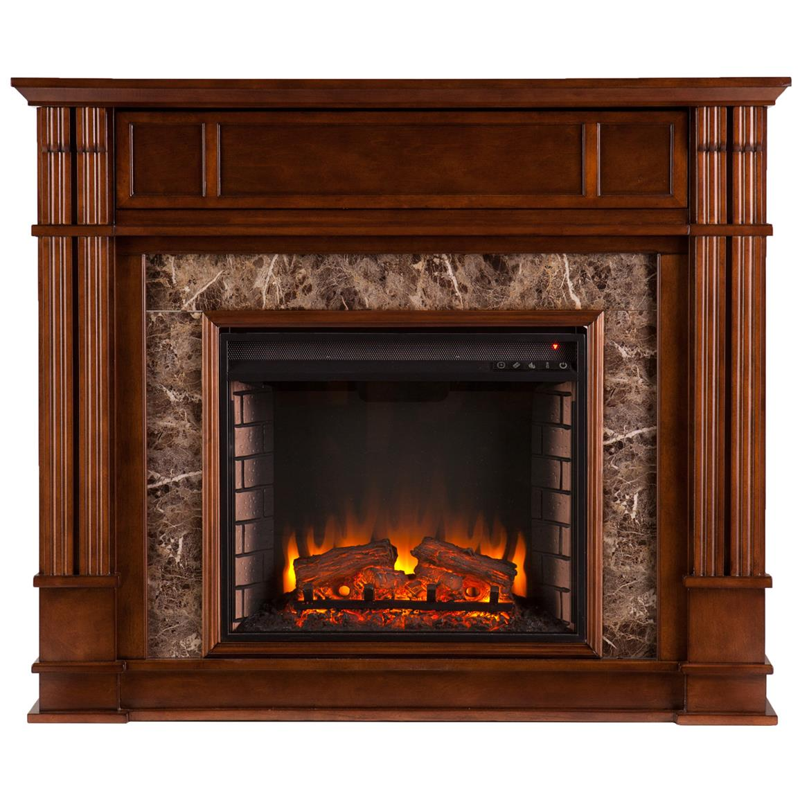 Southern Enterprises Highgate Faux Stone Electric Media Fireplace, Whiskey Maple