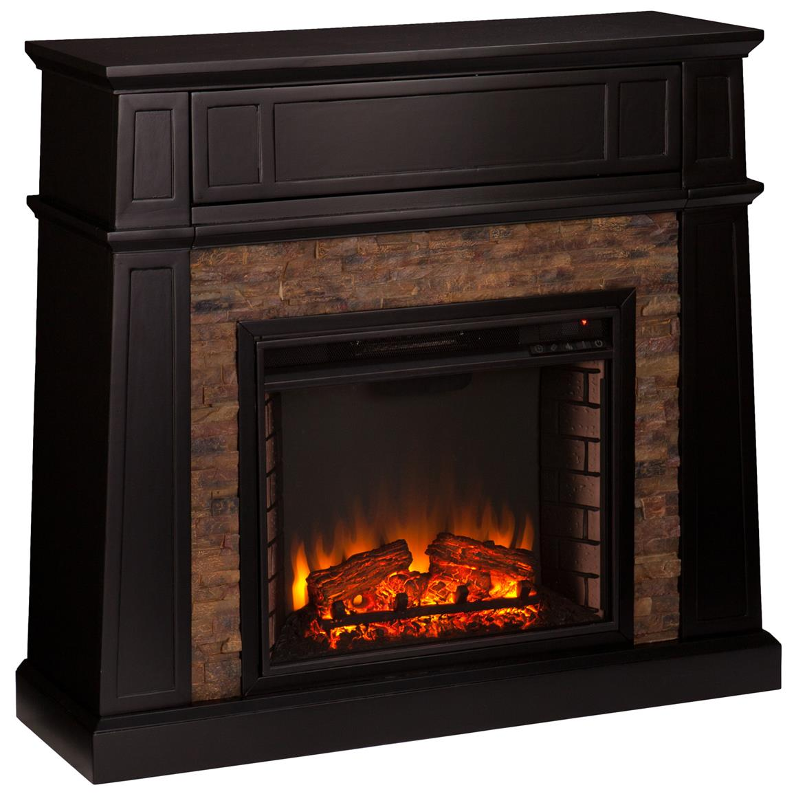Southern Enterprises Crestwick Faux Stone Electric Media Fireplace, Black