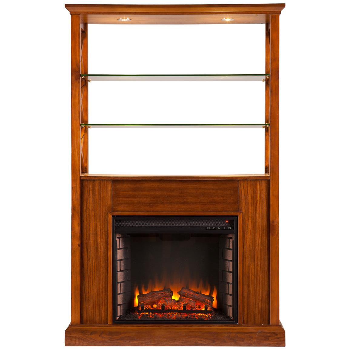 Southern Enterprises Gentry Fireplace Curio Tower, Oak Saddle