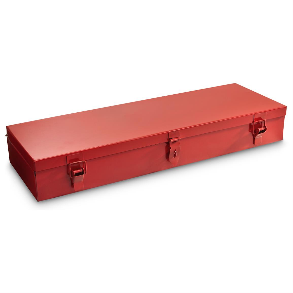 Red metal tool box keeps it all together and easy to transport