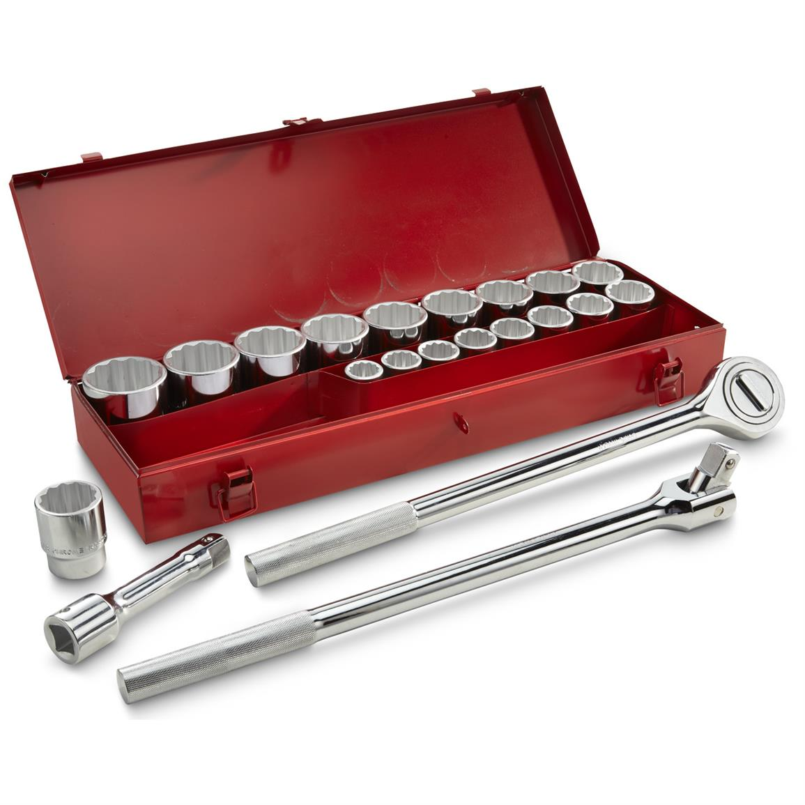 Set includes the ratchet, socket extender, breaker bar and sockets
