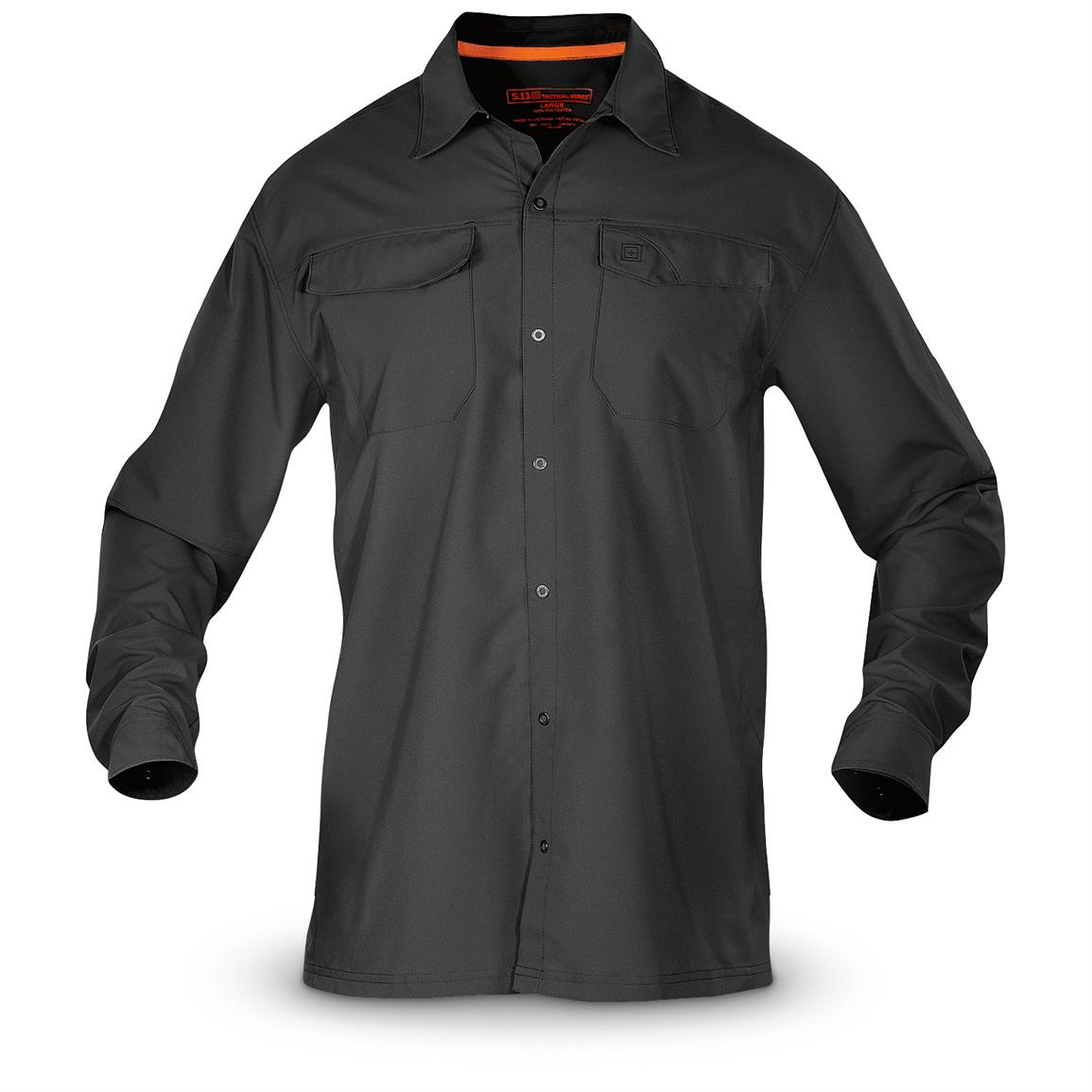 5.11 Tactical Men's Freedom Flex Long Sleeve Shirt, Black