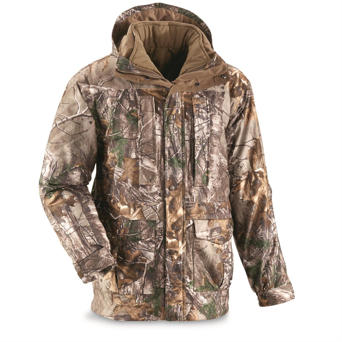 Guide Gear Steadfast 4-In-1 Waterproof  Hunting Parka, 150 Gram Thinsulate Platinum with X-Static, Realtree Xtra