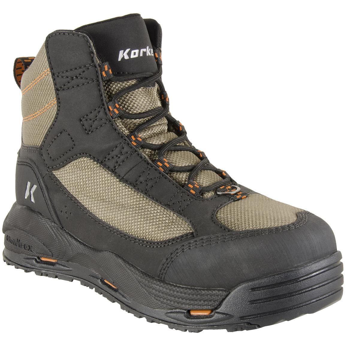 Korkers Men's Greenback Wading Boots, Felt Outsole Only, Beige / Black