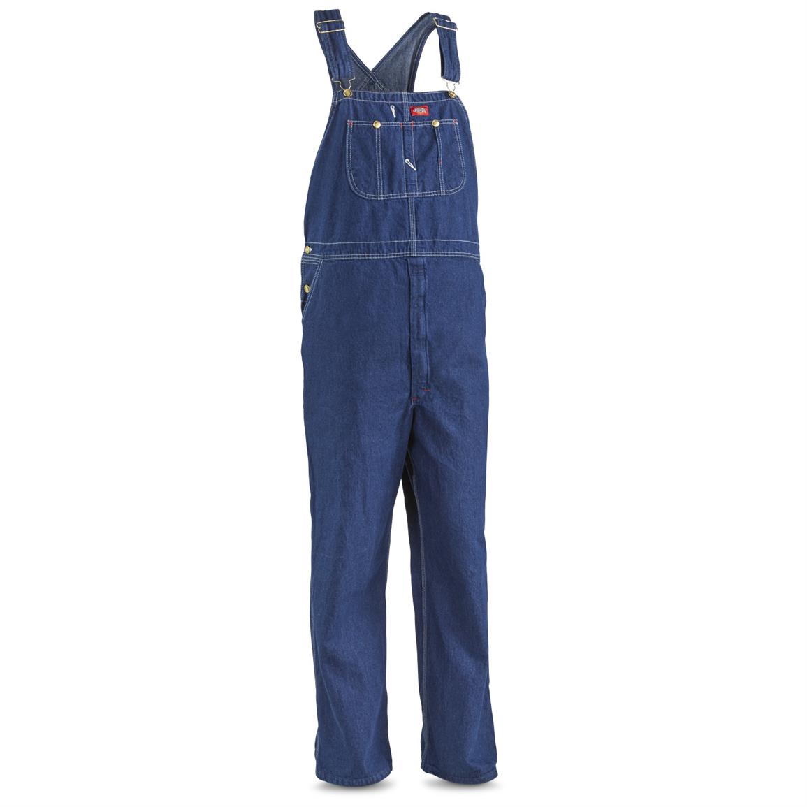 Dickies Men's Factory Second Bib Overalls, Rinsed Navy