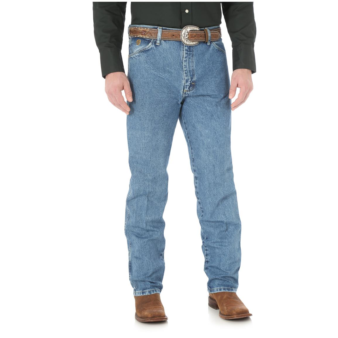 Wrangler Men's George Strait Cowboy Cut Original Fit Jeans, Stone Washed